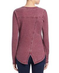 William Rast Purple Roundneck Thermal Knit Top