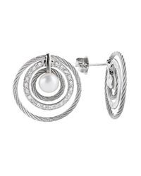 Charriol | Metallic Women's Classique 18k White Gold And Stainless Steel Diamond Earrings | Lyst