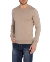 Armani Jeans | Natural Crew Neck Logo Jumper for Men | Lyst
