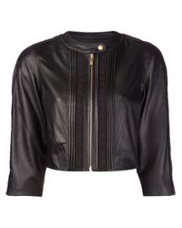 Alice By Temperley - Black Cropped Floral Lace Insert Jacket - Lyst