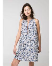 Mango Blue Cord Halter Dress