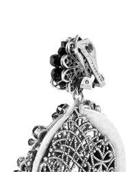 Miriam Haskell - Black Crystal Flower Wheel Drop Earrings - Lyst