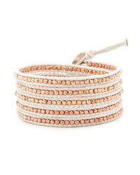 Chan Luu Metallic Rose Gold Wrap Bracelet On White Leather