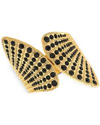 Guess | Metallic Gold-tone Black Stone Wing Hinge Cuff Bracelet | Lyst