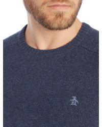 Original Penguin - Blue Hector Lambswool Sweater for Men - Lyst