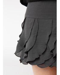 Mango Black Ruffled Miniskirt