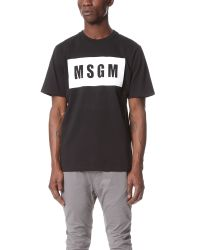 MSGM Black Box Logo Tee for men