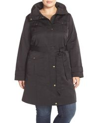 Ellen Tracy Black Techno Trench Coat