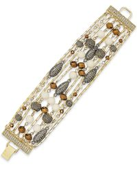 INC International Concepts | Natural Gold-tone Creme Bead Multi-row Bracelet | Lyst