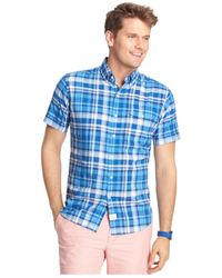 Izod | Blue Big And Tall Short-sleeve Plaid Seaside Poplin Shirt for Men | Lyst