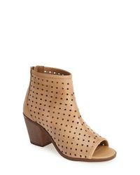 Kelsi Dagger Brooklyn | Natural 'kyoto' Perforated Leather Peep Toe Bootie | Lyst