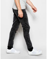 Cheap Monday Jeans Tight Skinny Fit Youth Black Acid Knee Rip for men