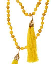 Rosantica By Michela Panero - Yellow Enta Wood And Quartz Double Necklace - Lyst
