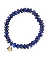 Sydney Evan | Metallic 8Mm Faceted Lapis Beaded Bracelet With 14K Gold/Diamond Small Buddha Charm (Made To Order) | Lyst