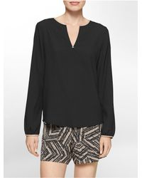 Calvin Klein - Black White Label Faux Leather Trim V-notch High Low Long Sleeve Top - Lyst