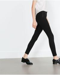 Zara | Black Wide Waist Leggings | Lyst