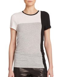 VINCE | Black Colorblock Tee | Lyst