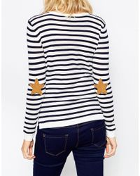 ASOS - Blue Boxy Stripe Jumper With Elbow Patch - Lyst