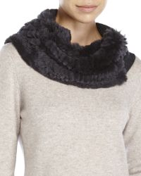 Qi | Gray Real Rabbit Fur & Cashmere Snood | Lyst