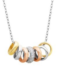 Lord & Taylor | Metallic Tri-tone Glitz Ring Necklace | Lyst