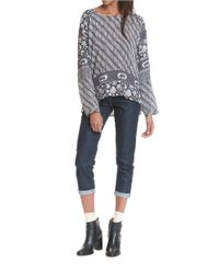Plenty by Tracy Reese - Gray Boatneck Batik Top - Lyst