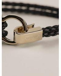 Ferragamo | Black Woven Gancio Bracelet | Lyst