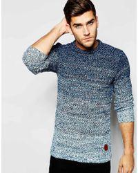 Blend | Blue Crew Sweater Slim Fit Graduated Melange Knit for Men | Lyst