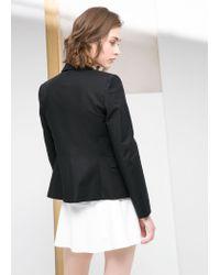 Mango - Black Essential Cotton-Blend Blazer - Lyst