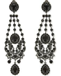 Givenchy - Black Crystal Chandelier Clip On Earrings - Lyst