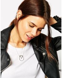 ASOS Metallic Fine Chain Open Shape Necklace