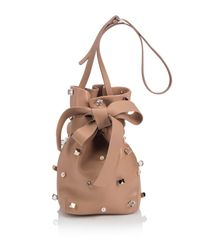Jimmy Choo - Natural Eve Studded Leather Bucket Bag - Lyst