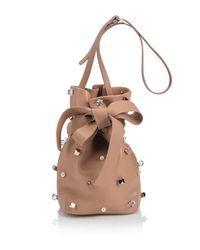 Jimmy Choo Natural Eve Studded Leather Bucket Bag