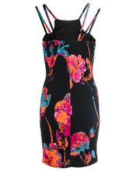 Quiz | Black Floral Print Midi Dress | Lyst