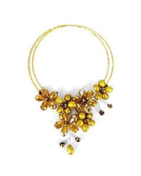 Aeravida | Yellow Golden Lush Freshwater Dyed Gold Pearl Floral Wrap Necklace | Lyst