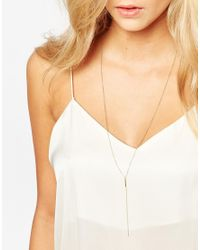 Dogeared - Metallic Gold Plated Balance Bar Y Necklace - Lyst