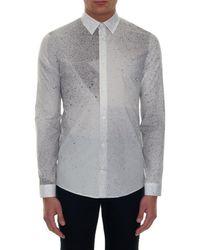 Balenciaga Gray Spray-Paint Print Cotton Shirt for men
