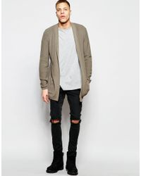 Asos Longline Cardigan With Open Shawl Neck in Gray for Men | Lyst