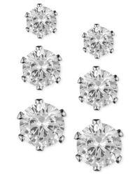 Anne Klein | Metallic Glass Stone Stud Earring Set | Lyst
