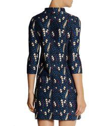 Issa Blue Patterned Stretch-knit Mini Dress