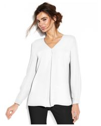 Vince Camuto | White Long-Sleeve V-Neck Blouse | Lyst
