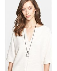 St. John - Metallic Long Octagon Pendant Necklace - Gunmetal/ Crystal/ Grey Pearl - Lyst