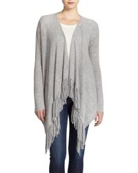 360cashmere | Gray Dominique Cashmere Fringed Draped Cardigan | Lyst