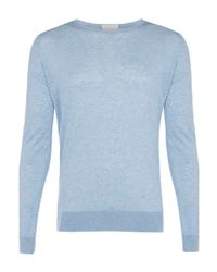 John Smedley | Light Blue Cashmere-blend Knit Jumper for Men | Lyst