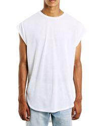 TOPMAN White Longline Cap Sleeve T-shirt for men