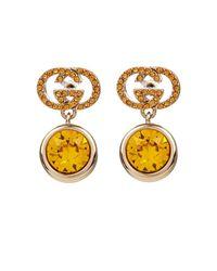Gucci Metallic Crystal-Embellished Logo Earrings