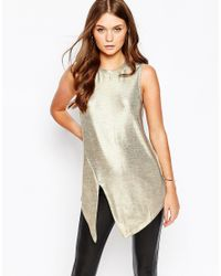 First & I - Metallic Front Split Top - Lyst