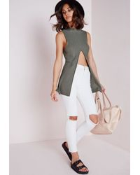 Missguided - Green Split Front Knitted Ribbed Vest Khaki - Lyst