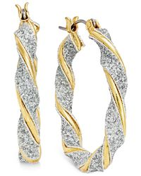 Style & Co. - Metallic Glitter Twist Hoop Earrings - Lyst
