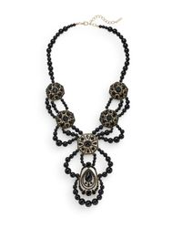 Saks Fifth Avenue | Black Beaded Medallion-drop Statement Necklace | Lyst