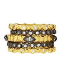 Freida Rothman - Metallic Bezel-set Cz Stackable Rings Set - Lyst